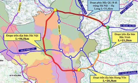 Hướng tuyến theo quy hoạch của đường Vành đai 4 - Vùng Thủ đô.