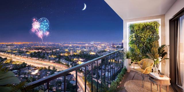 Không gian tại ban công căn hộ Moonlight Centre Point với thiết kế tối ưu giúp đón khí trời tự nhiên tốt cho sức khoẻ cư dân. Ảnh: Hưng Thịnh Land