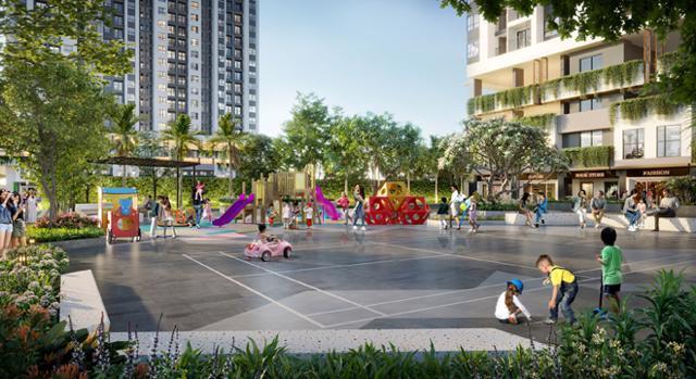 Sân chơi trẻ em rộng rãi ngay khuôn viên dự án Moonlight Centre Point. Ảnh: Hưng Thịnh Land