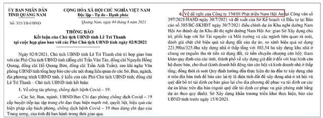 Văn bản chủ tịch UBND tỉnh Quảng Nam Lê Trí Thanh yêu cầu làm rõ nhiều vấn đề xung quanh việc điều chỉnh dự án Khu nghỉ dưỡng Nam Hội An thành dự án Khu đô thị nghỉ dưỡng Nam Hội An.