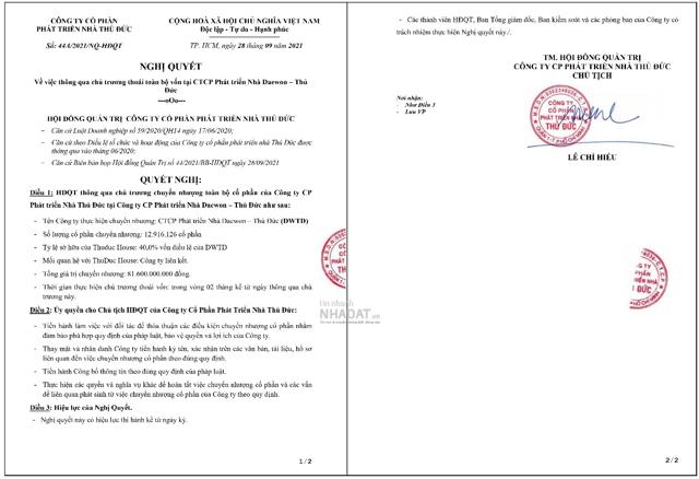 Nghị quyết của Thuduc House về việc thoái toàn bộ vốn tại CTCP Phát triển Nhà Deawon – Thủ Đức.