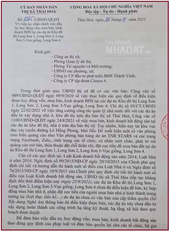 Văn bản được UBND Thị xã Thái Hòa ban hành về việc chấn chỉnh việc đầu tư, huy động vốn, mua bán kinh doanh bất động sản tại các dự án Khu đô thị Long Sơn 1, Long Sơn 2, Long Sơn 3 và Long Sơn 4.