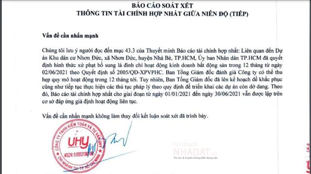 Sai phạm tại dự án KDC Nhơn Đức, Vạn Phát Hưng bị đình chỉ hoạt động 1 năm.