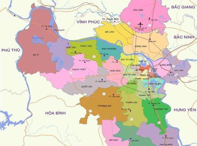 Bản đồ hành chính Hà Nội.