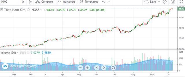 Diễn biến cổ phiếu NKG từ đầu năm đến ngày 8/10.