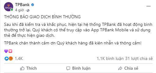 Trên fanpage của TPBank thông báo sự cố hệ thống giao dịch đã được khắc phục.