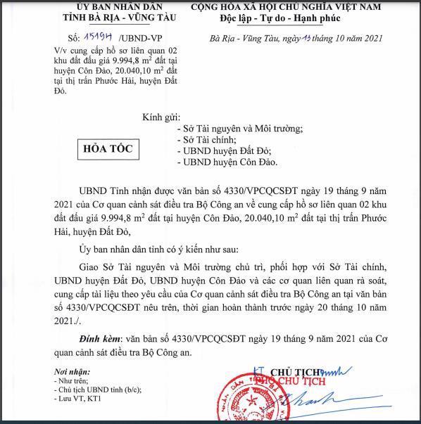 Văn bản của UBND tỉnh Bà Rịa - Vũng Tàu.