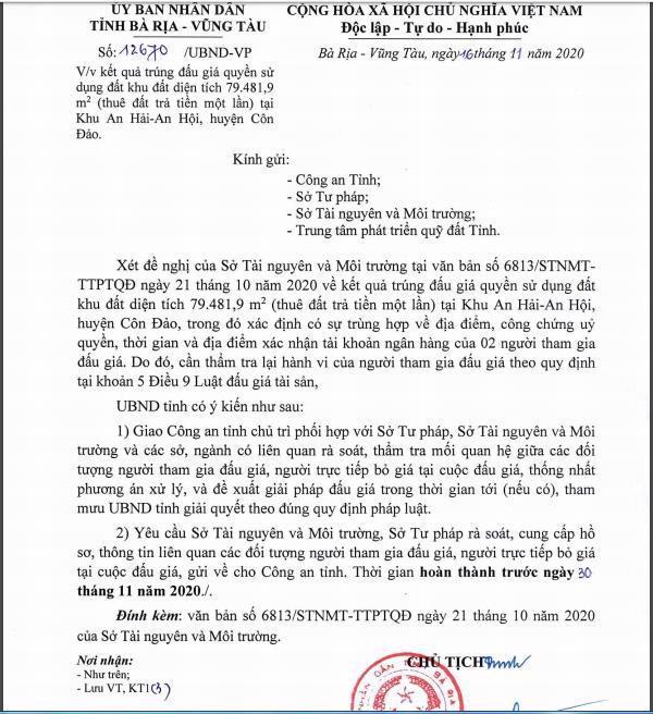 UBND tỉnh Bà Rịa - Vũng Tàu giao công an vào cuộc điều tra việc Tân Hiệp Phát trúng đấu giá khu đất gần 80.000m2 ở Côn Đảo.